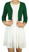 Teenage Girl Cropped Cardigan 3/4 Sleeve Fitted V-neck Soft Knit Vintage Style