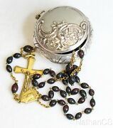 Vintage Bloodstone And Vermeil Catholic Rosary In 1830 Sterling Repoussé Box Rare