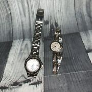 Bulova Marine Star And Mayfair Silver Link Wrist Watches Woman's Need Batteries