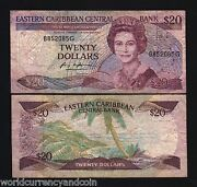 East Caribbean States Grenada 20 Dollars P24 G1 1988 Queen Boat Sign 1 Ecs Note