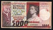 Madagascar 5000 5000 Francs P66 1974 Ox Plant Woman Scarce Money Bill Bank Note