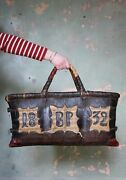 19th C Antique Folk Art Leather And Woven Rush Butchers Bag Bp 1832 Curio