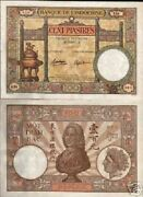 French Indo China 100 Francs P-51 D 1936 Running Pair Large Vietnam Money Note