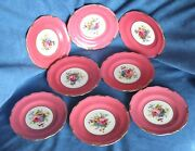 8 Hot Pink Rosemary Rose Royal Crown Derby Neiman Marcus Bread Butter Plate Vtg