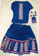 Seminole Patchwork Dance Outfit And Dolls -tahweegachi Touch- By Lisa -blue