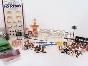 165 Piece Ho Scale Train Accessories Signs People Planes Animals Graval Grass