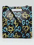 Black Multicolor Guccighost Calfskin Print Leather Two-way Xl Tote Bag