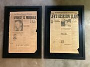 Original Jfk And Lee Oswald Newspapers From Midland Texas Framed