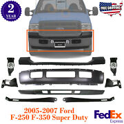Front Bumper + Valance + Fog And Bracket For 2005-2007 Ford F-250 F-350 Super Duty