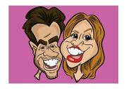 16 X 12 Colour Print - 2 Person Digital Caricature From Photo - Personalised
