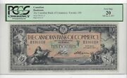 1917 Canadian Bank Of Commerce 10 Note Sn B196110 Pcgs Vf-20