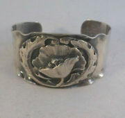 Great Peer Smed Sterling Hand Wrought Floral Cuff Bracelet-1 3/8 Wide