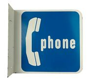 Vtg Metal Double Sided Sign Public Telephone Pay Phone Booth Blue White 18 X 20
