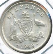 Australia, 1948 Sixpence, 6d, George Vi Silver - Almost Uncirculated