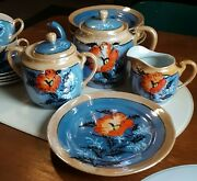 Lovely 20 Piece Luster Ware Tea Set Blue Peach W Red Flower Made In Japan