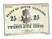 June 1862 25 Cents South Carolina Palm Tree In Current Funds Red 25 Reverse Op
