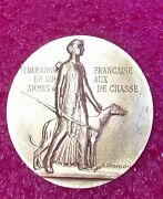 Famous A.morlon Diana With Dog Art Gilt Silver Medal French Champion Shooting