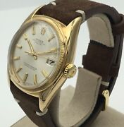 Rare Rolex 6105 Big Bubbleback 18k Yellow Gold Oyster Perpetual Watch 1952