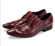 Mens Pointed Toe Cross Strap Alligator Pattern Low Heel Business Formal Shoes