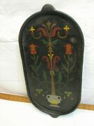 Early Cast Iron Tole Painted Pancake Griddle Pan Kitchen Country Decor Folk Art