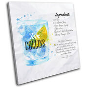 Tom Collins Cocktail Recipe Bar Vintage Single Canvas Wall Art Picture Print