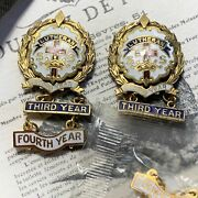 Two Gold Filled Little's Cross And Crown Lutheran Pins 4 Years Attendance
