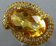 Extra Large 18.3ct Diamond And Aaa Yellow Sapphire And Citrine 14kt Yellow Gold Ring