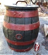 Antique Country Pre Prohibition Wood Storage Bar Beer Barrel Keg Table Music Box