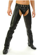 Menand039s Real Leather Chaps With Leather Brief / Leather Gay Chaps