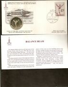 Russia 1980 Moscow Olympic Balance Beam Silver Coin + Fdc Unc Currency Stamp