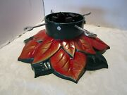 Antique Christmas Tree Stand Enameled Cast Iron Heavy 28 Lbs Poinsettia 18 Wide
