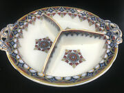 Asian Footed Divided Serving Bowl Dish Handles 1108 Z W Flow Blue Help Imari