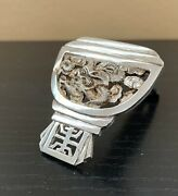 Vintage Chinese Export Sterling Silver Fur Clip Dragon Pierced Shou Luck Charm