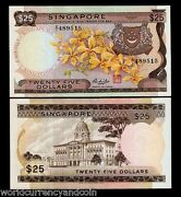 Singapore 25 Dollars P-4 1972 Rare Z/1 Replacement Orchid Unc Currency Banknote