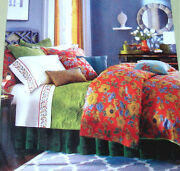 Sferra Mai Tai Queen Duvet Cover And Shams 400 Tc Floral Rouge Cotton Sateen New