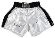 Muhammad Ali And Leon Spinks Authentic Signed Everlast Boxing Trunks Bas A87594