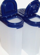 Tupperware New Vintage Spice Shakers 2 Large Containers Bold N Blue Seals