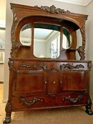 Antique 1905 Hippach - Chicago 55x75 Tall Curve Wood Buffet Sideboard Furniture