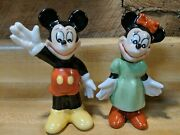 Vintage 1950s Mickey And Minnie Mouse Figurines Waving Green Dress Bow 5 In