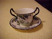 8 Royal Doulton Bouillon Cups, Blue And Black Trees, Green And Yellow Flowers