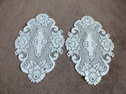 Collectible Beautiful Heritage Lace Doily Table Linen Set 2 White 14x10 Nice