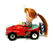 Kanto Toys Champion Wind-up Race Car With Girl, Vintage 1950's