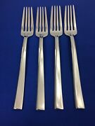Nambe Aquila Stainless Flatware 7 1/4 Salad Forks Asymmetric Wave Set Of 4