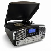 Trexonic Retro Wireless Bluetooth, Record And Cd Player In Black