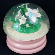 San Francisco Music Box Factory Snow Globe, Flowers And Butterfly Tune Memory