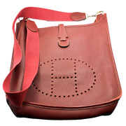 Authentic Hermes Evelyne Brick Red Clemence Leather Pm Handbag Purse