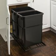Kitchen Cabinet Trash Pull Out Garbage Can Roll Out 2 Can System Waste Container