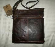 Nwt Jack Georges Voyager Crossbody Bag Hand-stained Buffalo Leather Brown 7312
