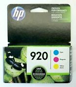 New Hp 920 3-pack Color Ink Cartridge Cyan Magenta Yellow For Hp Officejet