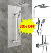 Thermostatic Exposed Shower Mixer Bathroom Twin Head Large Square Bar Set Chrome